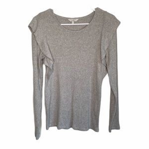 Lucky Brand Large Gray Soft Ruffle Shoulder Blouse